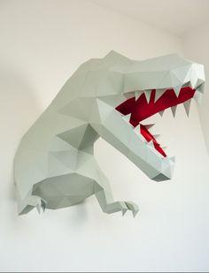 Figura de Papel de Tiranosaurio Lowpoly 3d
