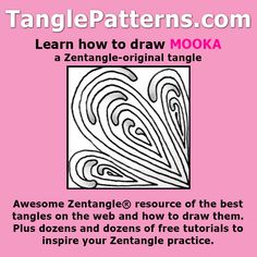 Step-by-step instructions to learn how to draw the Zentangle-original tangle pattern: Mooka