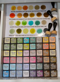 CRAFT ROOM STORAGE & ORGANISATION - Tim Holtz mini distress ink pads & colour swatch chart