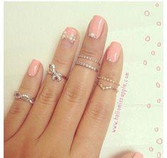 Pink nail and rings