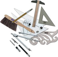 Drafting set included T-Square, 30-60-90 triangle, 45 degree triangle, mechanical lead holders, french curves, eraser templates, sandpaper to sharpen pencil and a brush to remove eraser droppings.