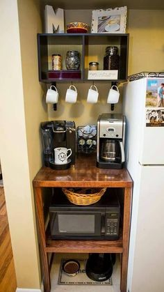 Coffee bar, microwave stand, & cat meal center