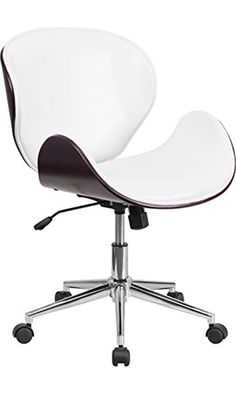 Flash Furniture Mid Back Mahogany Wood Swivel Conference Chair in Leather, White Best Price