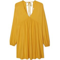 Flared Skirt Dress ($54) ❤ liked on Polyvore featuring dresses, long sleeve dress, v neck dress, mango dresses, circle skirt and yellow skater skirt