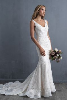 Wedding Dress by Allure Couture - Search our photo gallery for pictures of wedding dresses by Allure Couture. Find the perfect dress with recent Allure Couture photos. V Neck Wedding Dress, Dream Wedding Dresses, Bridal Dresses, Fitted Wedding Dresses, Sheath Lace Wedding Dress, Event Dresses, Pronovias Wedding Dress, Dressy Dresses, V Neck Fit And Flare Wedding Dress