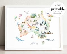 Travel Inspired Art Prints and Illustrated Wall Art by ModvinCo Watercolor Map, Watercolor Illustration, Gallery Wall Layout, Nursery Art, Nursery Decor, Wall Decor, Nursery Themes, Room Decor, Australia Map