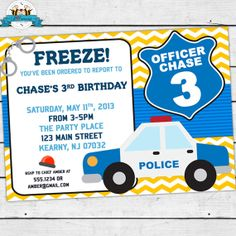 Police Officer Birthday Party Invitation  by LilFacesPrintables, $11.95