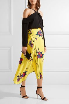 Proenza Schouler | Asymmetric floral-print silk-crepe wrap skirt | NET-A-PORTER.COM