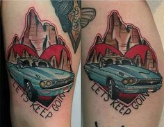 Ideas For Adorable Matching Couple Tattoos - Thelma and Louise's fans by Matt Adamson.