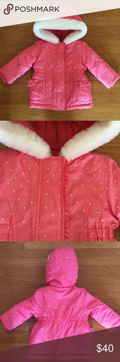 Gymboree puffer jacket Bright coral pink puffer jacket with silver metallic polka dots and white fur trim.  Lined with fleece.  NWOT.  Snap and zip closure. Gymboree Jackets & Coats Puffers