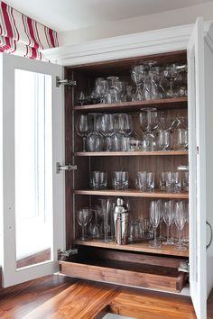 Glazed dresser with bespoke walnut tray.