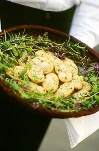 ... basket is garnished with fresh blooming thyme and rosemary branches