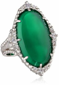"Amazon.com: Judith Ripka ""Sophia"" Oval Stone Green Ring, Size 7: Jewelry"
