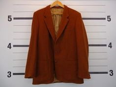 "Awesome VINTAGE Men's Rust HARRIS TWEED Blazer 46"" // £9.95"