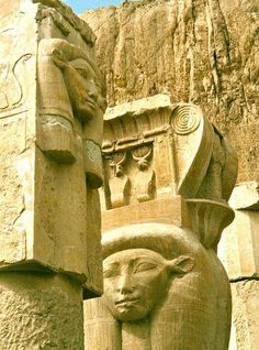 Temple of Hathor, Luxor, Egypt The Temple of Hathor is part of The Mortuary Temple of Queen Hatshepsut. Hathor is depicted as a cow goddess with head horns in which is set a sun disk. Ägyptisches Totenbuch