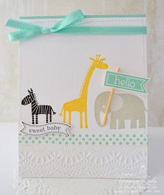 I created this card using Stampin Up  Zoo Babies, Perfect Pennants, and Itty Bitty Banners.