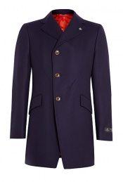 Navy Melton Assymetric Button Top Coat by Vivienne Westwood