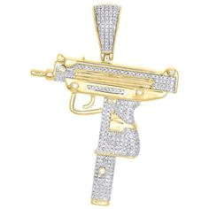 Gold gun pendant solid 14k gold gun pendant dimaond gun pendant 10k yellow gold diamond uzi machine pistol gun pendant 220 pave charm 090 ct aloadofball Gallery