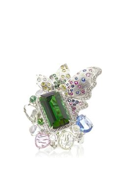 Athena's Laurel Tourmaline, Moonstones, And Blue Sapphire Ring by Anna Hu Haute Joaillerie for Preorder on Moda Operandi