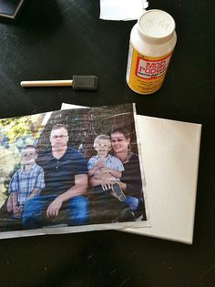 Photo onto canvas. Tips from the comments section: print on tissue paper using the specialty settings on your computer. For a mac, go to paper type - specialty - transfer paper.