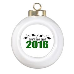 Xmas Trees Decorated Law School Grad Class Of 2016 Caps Green Santa Christmas Ball Ornaments * Details can be found by clicking on the image.