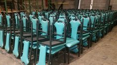 Used metal framed chair with teal seat/select pic to e-mail for quotes, pricing and product details/ by AIMCO Equipment Company Metal Frame Chair, Used Chairs, Black Metal, Bar Stools, Teal, Quotes, Furniture, Home Decor, Bar Stool Sports