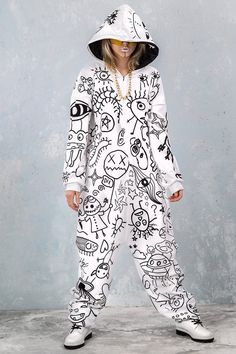 Adult onesie for women. Wear as your killer party or festival outfit or transform it into adult day pajamas, it's up to you! Adult Onesie Pajamas, Diy Clothes, Clothes For Women, Burning Man Outfits, Rave Outfits, Catsuit, Overalls, Onesies, Street Wear