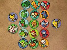 Pokemon Coaster im 3er-Pack Deal - Perler Bead Sprite w/Cork Back - alle drei Pokemon