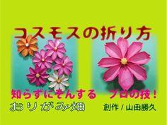 秋の花折り紙の折り方コスモス作り方 創作綺麗なおりがみ畑Origami Cosmos - YouTube