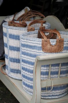 blue ticking baskets - available at antique market in Brimfield, Massachusetts. Coastal Style, Coastal Decor, Nautical Style, Nautical Bags, Love Blue, Blue And White, Deco Marine, Beach Cottages, Beach House Decor
