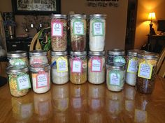 Be ready for emergencies big and small with these eight great meal in a jar recipes! All you need to do is add water and cook for a great meal! Jar Recipes, Canning Recipes, Raw Food Recipes, Picnic Recipes, Picnic Ideas, Picnic Foods, Quick Recipes, Homemade Dry Mixes, Amigurumi