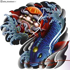 Able Slowdown ( Japanese Koi Fish Tattoo, Japanese Tattoos For Men, Japanese Tattoo Designs, Japanese Sleeve Tattoos, Koi Tattoo Design, Japan Tattoo Design, Dragon Tattoo Designs, Bike Tattoos, Body Art Tattoos