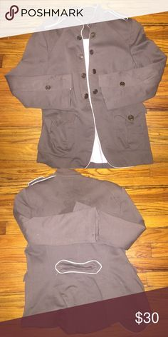 Military style blazer Zara olive and cream Military style blazer one pocket button missing other wise great condition Zara Jackets & Coats Blazers