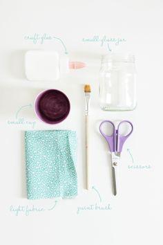 DIY - Votives - Just need the following: craft glue, small glass jar, small cup, scissors, paint brush, light fabric