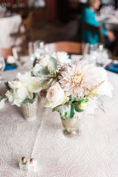 "with a dress named ""Dahlia"" and Cafe au Lait dahlias in her bouquet, this romantic blush wedding at Riverside on the Potomac was truly ""meant to be"" Dress Name, Southern Weddings, Meant To Be, Bouquet, Romantic, Dahlias, Table Decorations, Flowers, Studios"