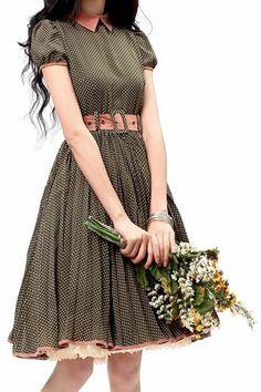 Pretty Outfits, Pretty Dresses, Beautiful Outfits, Vestidos Vintage, Dot Dress, Dress Up, Swing Dress, Modest Fashion, Fashion Dresses