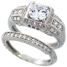 14K White Gold Rhodium Plated Sterling Silver Wedding