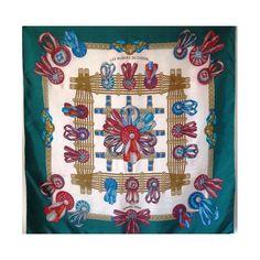 seta, scarf, sciarpa, Foulard Carré en Soie, seidentuch, hermès, LES RUBANS DU…