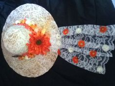 Tea party hat:) #DIY#homemade#crafts#teaparty#hat#flowers#lace