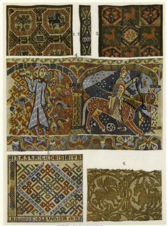Medieval Scandinavian Tapestries. I don't know the exact dates, but the middle one tells me a date between ca 1050 and 1200.