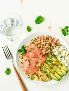 Avocado Grapefruit Couscous Salad with Feta and White Beans. A beautiful, healthy salad that's perfect for a side or light lunch. www.wellplated.com