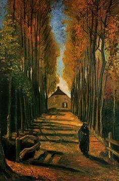 Vincent van Gogh. Avenue of Poplars at Sunset.
