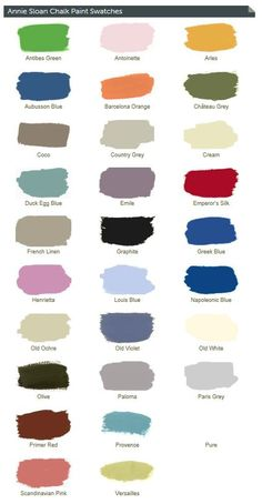 Annie Sloan chalk paint colors and link to online retailer