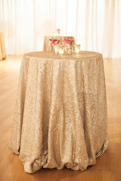 So glamorous! Sparkly gold floor length tablecloth for cocktail tables & cake table Gatsby Wedding, Gold Wedding, Wedding Table, Wedding Events, Wedding Reception, Wedding Bells, Dream Wedding, Wedding Day, Shabby Chic