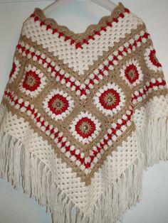 Vintage hippie style crochet ivory beige red poncho by krittenart, $59.00