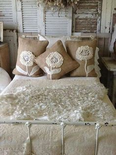Burlap and Lace; OMG the pillows!! Dandelions!!