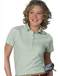 Ladies Polo Shirt, Shrink-wrinkle resistant, 4-oz spun poly, 4-button, 7-colors, XXS-Plus Size 3XL. Free shipping, custom logo embroidery True to Size Apparel