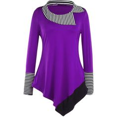 Long Sleeve Lapel Asymmetric Hem Striped Blouse ($27) ❤ liked on Polyvore featuring tops, blouses, asymmetrical hem top, purple long sleeve top, striped long sleeve top, purple long sleeve blouse and long sleeve asymmetric top
