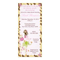 Jungle Jill Baby Shower Invitation for your sweet jungle themed baby shower. #babyshower