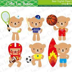 Teddy Bear Clipart  Sport Clipart Cute Little by CeliaLauDesigns, $5.00